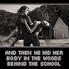 tekuates: (hid her body)