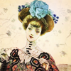 turlough: early 1900s fashion plate of lady with big hat with big blue flowers ((other) floriculture)