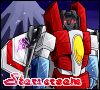 dragoness_e: Fanart of G1 Starscream with F-22 kibble in robot mode (Starscream F-22)