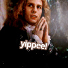 arcadiaego: Tom Cruise in Interview with the Vampire looking sarcastic. The caption says 'yippee!' (Lestat)