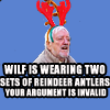akeyoftime: (dw wilf is wearing two antlers)