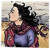 alithea: Artwork of Francine from Strangers in Paradise, top half only with hair and scarf blowing in the wind (Windswept Francine)
