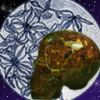 willowmeg: Amber skull in front of round, moonlike drawing of flowers, in front of a purple starry sky. (skullmoon)