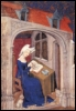 girasole_ladyhawk: Christine de Pizan at her desk (reading, woman, writing)