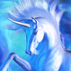 wallace_trust: Blue Unicorn in a nebula (Unicorn)