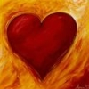 thnidu: warm red heart on orange streaked background (heart)