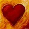 thnidu: warm red heart on orange streaked background (heart)