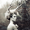 i_v_y: (dark: b&w antler lady)