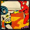 batflash: A comic book panel of Batman and Flash dancing wildly (Default)