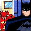 batflash: Flash is standing behind Batman and making a face at him (Blaah)