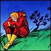 batflash: Flash sitting on a grassy hill, looking depressed AF (SadFlash)