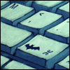 batflash: A keyboard where one of the buttons has the Batman logo (Batboard)