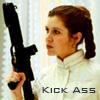 "la_anah: Princess Leia carrying a blaster gun. Text says ""kick ass"" (gun)"