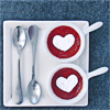 quietspring: Image: Two cups with cute heart designs on top, placed in a tray with spoons. (warm drinks <3 by drapion)