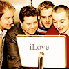 nerwende: Billy Boyd, Sean Astin, Dom Monaghan & Elijah wood in front of an older iMac + test iLove. (LOTR cast (iLove))