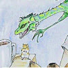 etrixan: dragon Dean reaching for a cup of coffee (dignity of dragons, spn, dragon, supernatural)