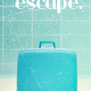 falena: a blue suitcase against a blue background, above the suitcase we can read the word 'escape' (travelling)