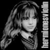 "hermionesviolin: black and white photo of Emma Watson, with text ""hermionesviolin"" (hermione by oatmilk)"