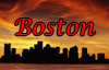 "hermionesviolin: Boston skyline at sunset with the word ""Boston"" at the top (Boston)"