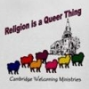 "hermionesviolin: black-and-white image of a church in the background, with sheep of different colors in the foreground, text at the top ""Religion is a Queer Thing"" and text at the bottom ""Cambridge Welcoming Ministries"" (religion is a queer thing)"