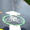 hermionesviolin: image of a bicycle painted on pavement inside a forward-facing arrow (moar bike lanes pls)