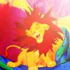 ada_hoffmann: cartoon of a lion cub proudly waving a false mane made of leaves (happy - simba mane)