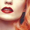 arcadiaego: Close up of a pale white woman with red hair and bright red lipstick (Ivory)