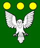 sporky_rat: Vert, an owl displayed argent and in chief three bezants. (me!!!!)