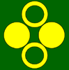 sporky_rat: Vert, in pale two annulets Or and in fess two bezants. (skaia badge)