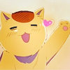 maquillage: An illustration of an extremely happy cat, waving at the viewer. (itabby hearts)
