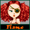 "elfflame: Red headed woman with a patch over her left eye, the title ""Flame"" below it (Default)"
