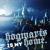 """seraphina_snape: icon of Hogwarts castle at night with the words """"Hogwarts is my home"""" on it (HP_ Hogwarts is my home)"""