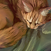 juushika: Drawing of a sleeping orange cat. (I should have been born a cat) (Default)