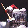 sareini: poster from the movie silent night deadly night featuring a santa arm coming out of a chimney holding an axe (silent night deadly night)