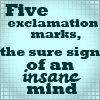 sareini: Five Exclamation Marks, the sure sign of an unstable mind (Five Exclamation Marks)