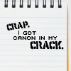 "supertights: Text saying ""Crap. I got canon in my crack"". (Crap, Canon)"
