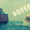supertights: Image of Jaws and the word Squee (Squee, Jaws)