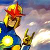 supertights: Image of Nova with Rock On gesture (Rock on)
