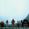 supertights: Five tiny figures dressed for Halloween waving (Halloween)