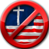 anti_theocracy: A red circle and bar indicating 'no' over an American flag with a cross. (Anti-theocracy)