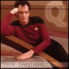 "vex_verlain: Q lounging on the deck of the Enterprise, with ""Mon Capitaine"" in quotes. (Q)"