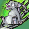 marko_the_rat: Nervous rat on a fork (dinner)