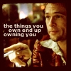 """saavedra77: """"The things you own end up owning you."""" - Tyler Durden, """"Fight Club."""" (Fight Club Tyler Durden Things Own You)"""
