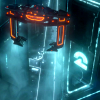 tron_comm: TRON: Legacy still: a Recognizer lifting off in the city. (recognizer)