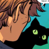 thelastjoy: Girl facing away with cat on her shoulder, neutral, cold; comic (Three)