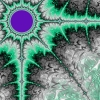 vladdraculea: Julia set fractal with Ace and Arrow Pride colors, black, grey, white, green, and purple (Ben)