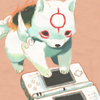 sk_shadow: Chibiterasu from Okamiden playing a Nintendo DS Lite (chibiterasu)
