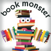 swingandswirl: image of a stick figure made out of books of different colours, with the words 'book monster' over its head. (bookmonster)