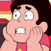 rosetintedbubbles: Steven with his hands pressed to his face in mild alarm (Ah no!)