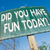 """grundyscribbling: Green road sign: """"Did you have fun today?"""" (signs - did you have fun)"""